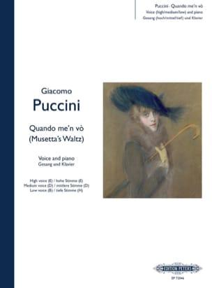 Giacomo Puccini - Quando Me' N Vo (Air de Musette). la Bohème - Partition - di-arezzo.fr