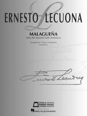 Malaguena. 4 mains Ernesto Lecuona Partition Piano - laflutedepan