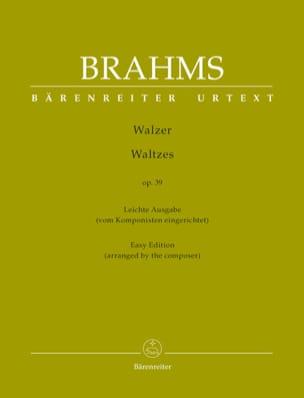 Valses Opus 39. Arrangement Facile BRAHMS Partition laflutedepan