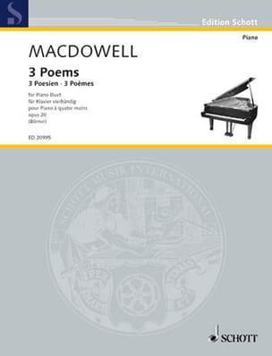 3 Poems Op. 20. 4 mains Edward MacDowell Partition laflutedepan