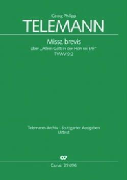 Georg Philipp Telemann - Missa Brevis Tvwv 9-2 - Partition - di-arezzo.fr