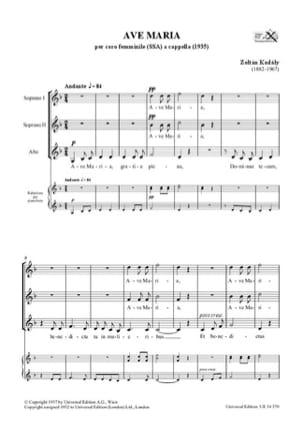 Zoltan Kodaly - Ave Maria - Sheet Music - di-arezzo.co.uk