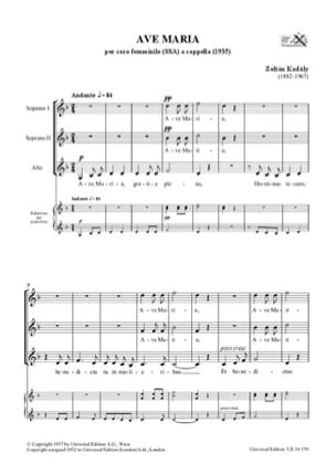 Zoltan Kodaly - Ave Maria - Sheet Music - di-arezzo.com