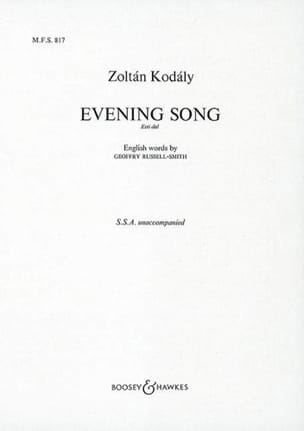Zoltan Kodaly - Evening Song (Esti Dial) - Partition - di-arezzo.fr