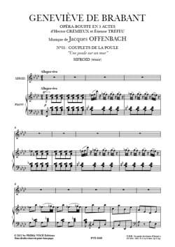 Jacques Offenbach - Une Poule sur un Mur - Geneviève de Brabant - Partition - di-arezzo.fr
