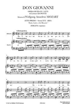 MOZART - Batti, Batti, O Bel Masetto - Don Giovanni - Partition - di-arezzo.fr