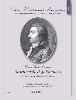 Emilie Zumsteeg - Abschiedslied Johannens - Partition - di-arezzo.fr