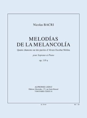 Nicolas Bacri - Melodias of the Melancolia Opus 119a - Sheet Music - di-arezzo.co.uk