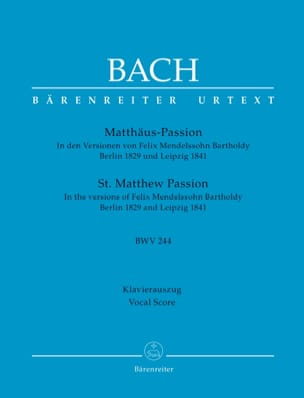 BACH - Passion selon Saint-Matthieu - Partition - di-arezzo.fr
