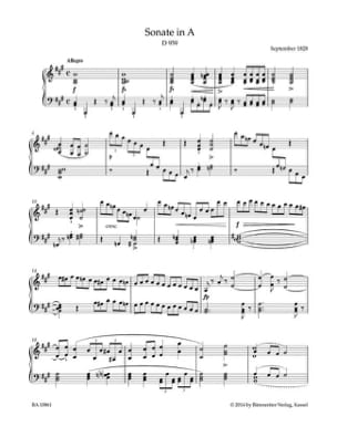 Sonate en La majeur D 959 SCHUBERT Partition Piano - laflutedepan