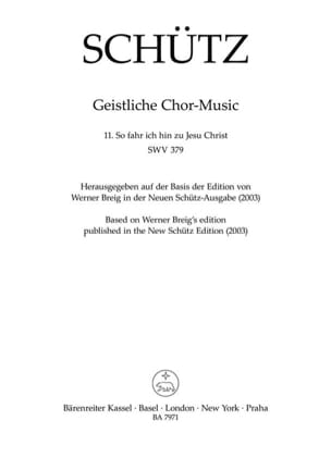 Heinrich Schütz - So fahr ich hin zu Jesu Christ Swv 379 - Partition - di-arezzo.fr