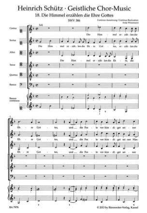 Heinrich Schütz - Die Himmel erzählen die Ehre Gottes. Swv 386 - Partition - di-arezzo.fr
