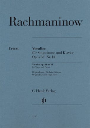 Sergei Rachmaninov - Vocalise op. 34-14 - Partition - di-arezzo.fr