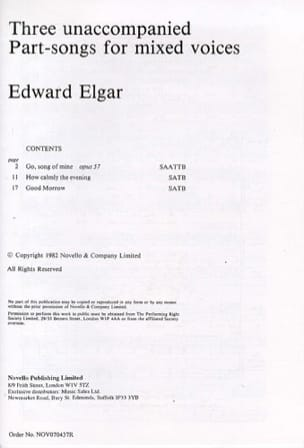 3 Unaccompanied Part-song for mixed voices ELGAR laflutedepan