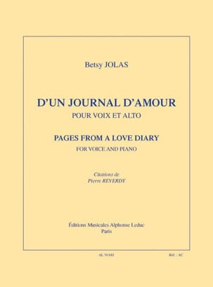 Betsy Jolas - D' un journal d'amour - Partition - di-arezzo.fr