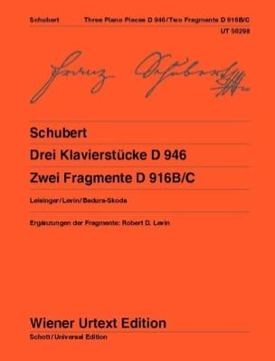 Franz Schubert - Drei Klavierstücke D 946 - 2 Fragmente D 916 - Partition - di-arezzo.fr