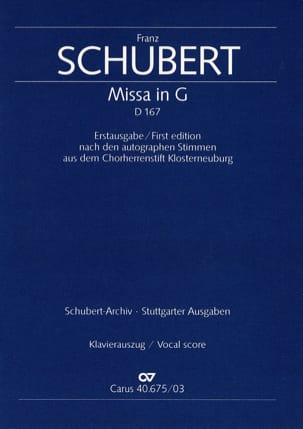 SCHUBERT - Mass in G Major D 167 - Sheet Music - di-arezzo.com