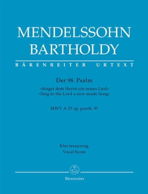 MENDELSSOHN - Der 98. Psalm op. 91 Mwv A 23 - Partition - di-arezzo.fr
