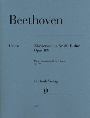 BEETHOVEN - Sonate pour piano n° 30 en Mi majeur Opus 109 - Partition - di-arezzo.fr