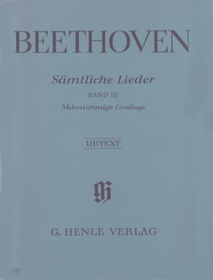 Ludwig van Beethoven - Sämtliche lieder. Volume 3 - Partition - di-arezzo.fr