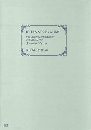 Johannes Brahms - 4 Lieder (Cycle Regenlied). - Partition - di-arezzo.fr