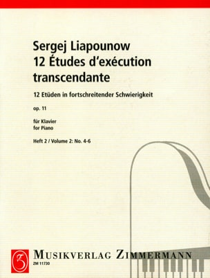 Sergej Liapounov - 12 Etudes D'exécution Transcendantes Opus 11. Volume 2 - Partition - di-arezzo.fr