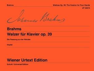 Valses Opus 39. 4 Mains - BRAHMS - Partition - laflutedepan.com