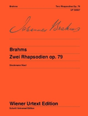 BRAHMS - 2 Rhapsodies Opus 79 - Partition - di-arezzo.fr