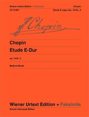CHOPIN - Study M Major Opus 10-3 Fac Simile - Sheet Music - di-arezzo.co.uk