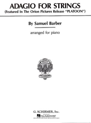Samuel Barber - Adagio For Strings Opus 11. Piano - Partition - di-arezzo.fr