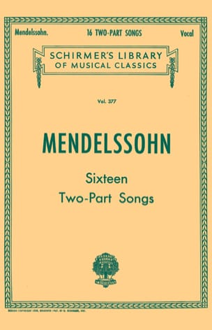 16 Two Parts Songs MENDELSSOHN Partition Duos - laflutedepan