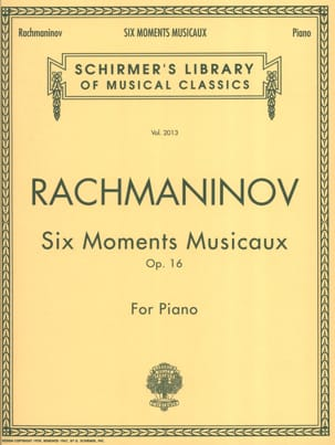 Sergei Rachmaninov - 6 Moments Musicaux Opus 16 - Partition - di-arezzo.fr