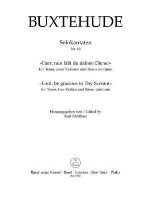 Dietrich Buxtehude - Herr, nun lässest du deinen Diener - Partition - di-arezzo.fr