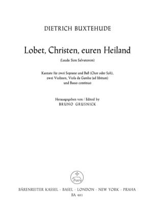 Dietrich Buxtehude - Lauda Sion Salvatorem Buxwv 68 - Partition - di-arezzo.fr