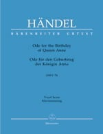 Georg-Friedrich Haendel - Ode for the birthday of Queen Anne - HWV 74 - Partition - di-arezzo.fr