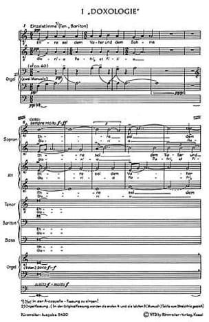 Klaus Huber - Kleine deutsche Messe Missa brevissima 1969 - Partition - di-arezzo.fr