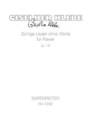 Giselher Klebe - Zornige Lieder Ohne Worte Für Klavier Op. 118 - Partition - di-arezzo.fr