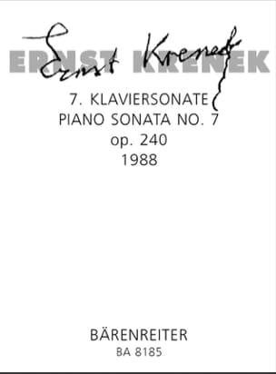 Ernst Krenek - 7ème Klaviersonate Op. 240 1988 - Partition - di-arezzo.fr