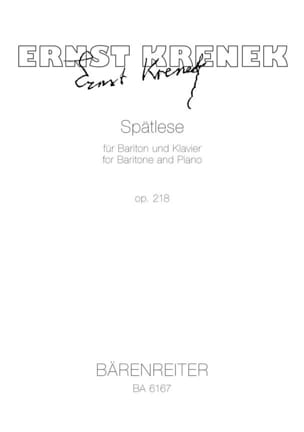 Ernst Krenek - Spätlese Op. 218 (1973) - Partition - di-arezzo.fr
