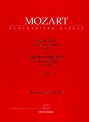 MOZART - Concerto Pour Piano N° 27 En Si Bémol Majeur K 595 - Partition - di-arezzo.fr