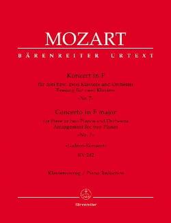 MOZART - Concerto Pour Piano N° 7 en fa majeur Pour 3 Pianos K 242 - Partition - di-arezzo.fr