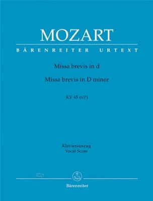 MOZART - Missa Brevis in D K 65 (61a) - Partition - di-arezzo.fr