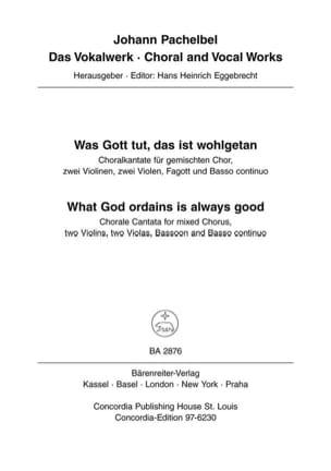 Johann Pachelbel - Was Gott tut, das ist wohlgetan - What God ordains is always good. Choralkantate - Partition - di-arezzo.fr