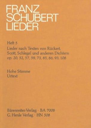 SCHUBERT - Lieder Voix Haute sur des Textes De Rückert, Scott, Schlegel et Autres Poetes - Partition - di-arezzo.fr