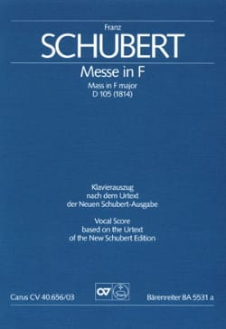 Franz Schubert - Messe Fa Maj D 105. Urtext Der Neuen Schubert-Ausgabe - Partition - di-arezzo.fr