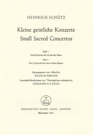 Heinrich Schütz - Kleine geistliche Konzerte. Heft 7. Nach Bd 10 der Neuen Schütz-Ausgabe - Partition - di-arezzo.fr