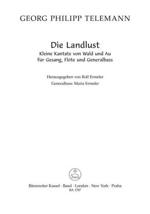 Georg Philipp Telemann - Die Landlust (Moralische Kantaten , Teil Iii ) - Partition - di-arezzo.fr