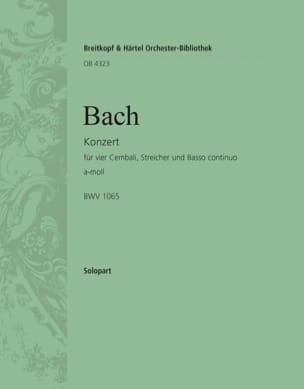 BACH - Concerto Pour 4 Claviers BWV 1065. Clavier 1 - Partition - di-arezzo.fr