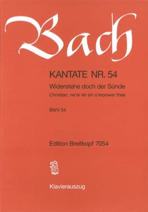 BACH - Cantate 54 Widerstehe Doch Der Sünde - Sheet Music - di-arezzo.co.uk
