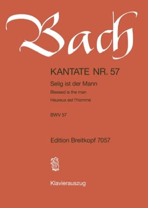 BACH - Cantate 57 Selig Ist Der Mann - Partition - di-arezzo.fr